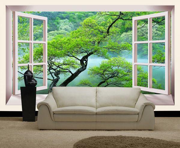 Вид из окна на фотообоях в интерьере гостиной