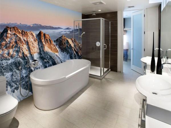 Вид на скалы в интерьере ванной комнаты
