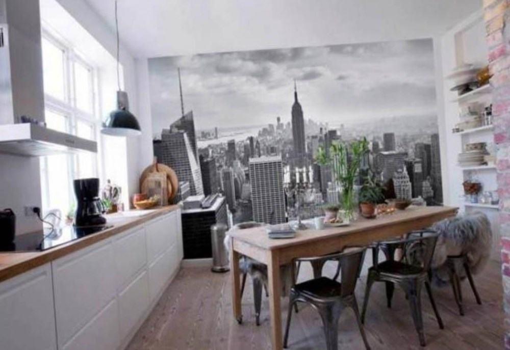 Вид на город в интерьере кухни