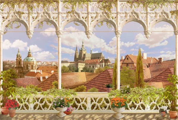 Балкон с видом на замок и крыши домов
