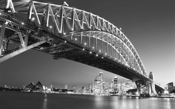 Чёрно-белые фотообои с изображением Сиднейского моста