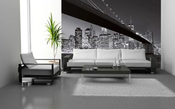 Чёрно-белые фотообои с видом Бруклинского моста снизу