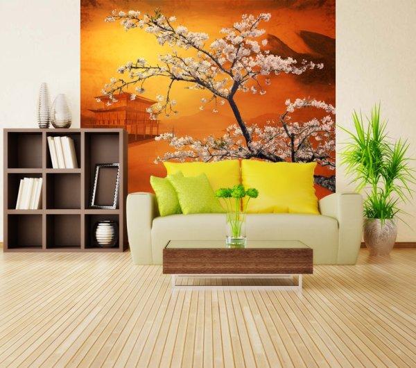 Дерево сакуры в интерьере гостиной