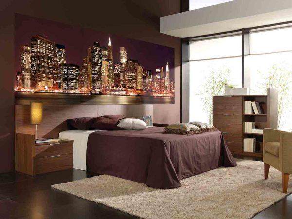 Фотообои ночной город в интерьере спальни