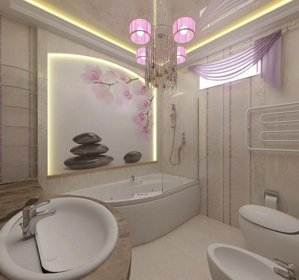 Фотообои с орхидеями в интерьере ванной комнаты