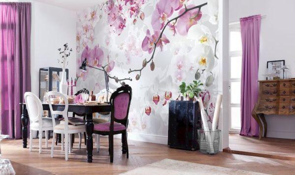 Фотообои с орхидеями в обеденной зоне