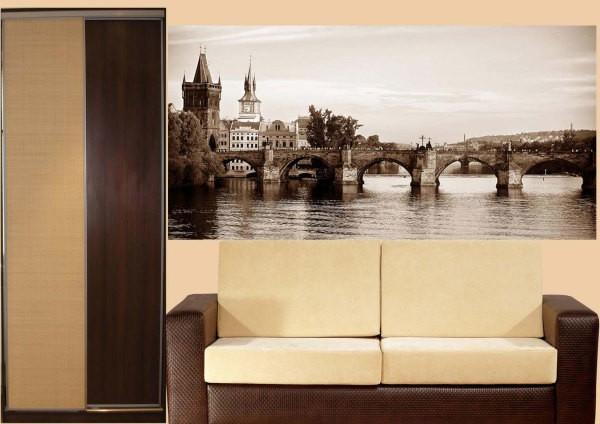 Фотообои с видом на Карлов мост в интерьере гостиной