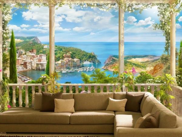 Фотообои в гостиной с видом на гавань