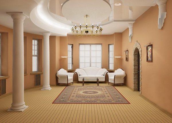 Интерьер с оштукатуренными круглыми колоннами