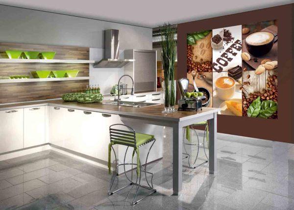 Интересное решение изображения на фотообоях на кухне