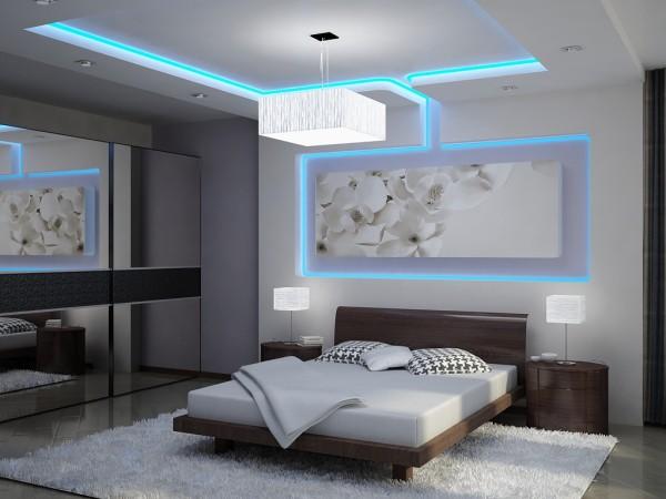 Изображение цветков сакуры с подсветкой в спальне