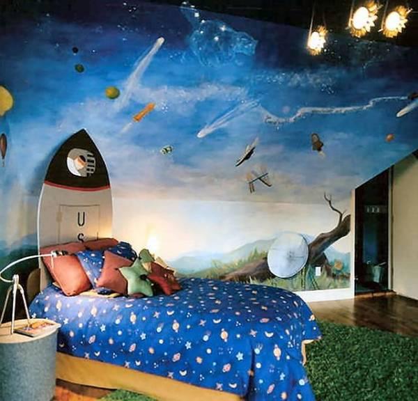 Космический мир в интерьере детской комнаты