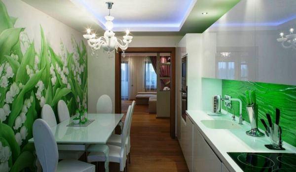 Ландыши в интерьере белой кухни