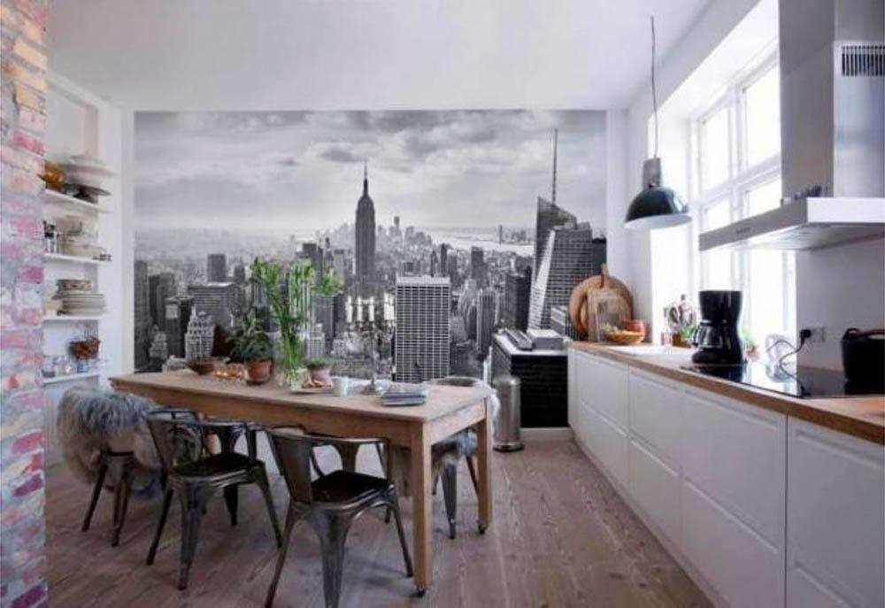 Чёрно-белый город в интерьере кухни