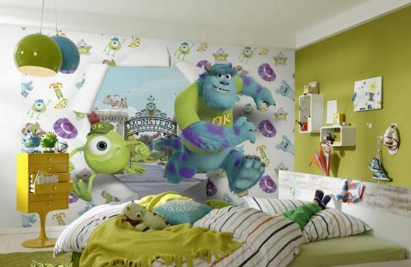 На фото, мультяшные герои входят в детскую комнату