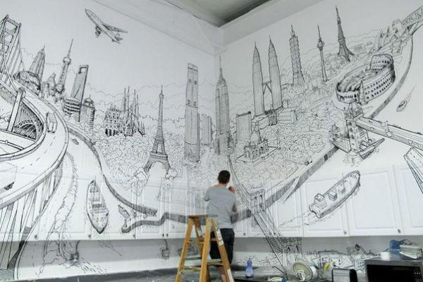 Нанесение картины на стену