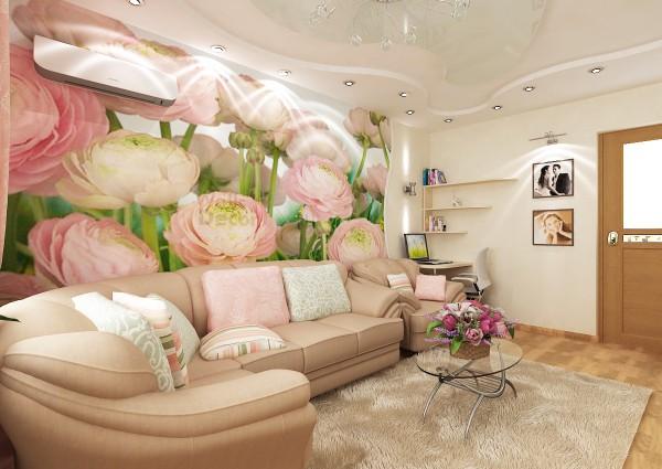 Нежно-розовые пионы в интерьере гостиной