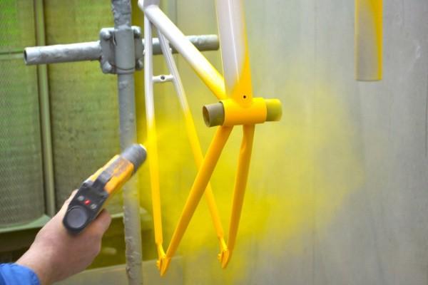 Окрашивание велосипедной рамы порошковой краской