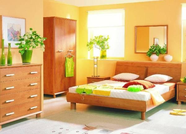Оттенки оранжевого цвета в мебели и обоях