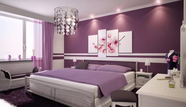 Панно из орхидей в интерьере спальни
