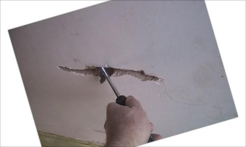 Расшивка трещины перед шпаклевкой