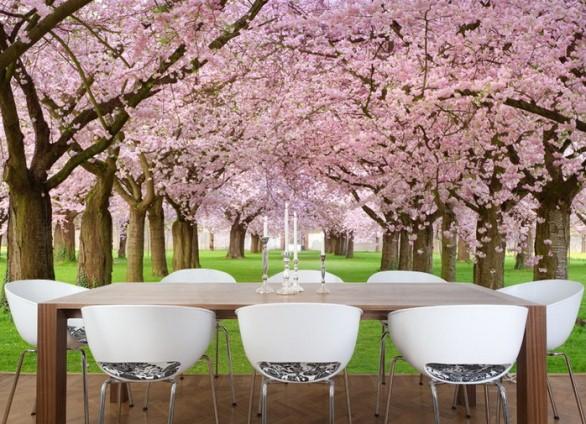 Сад цветущей сакуры в интерьере столовой