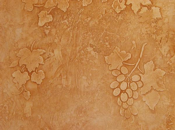 Штукатурка «Сграффито», рисунок с помощью трафарета
