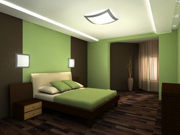 Сочетание зелёного и коричневого в интерьере спальни
