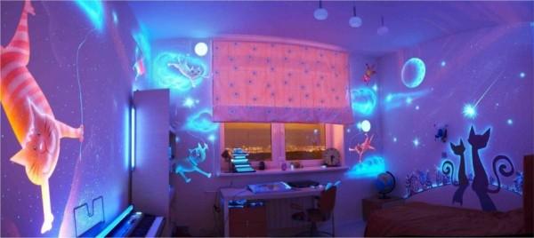 Светодиодные 3д обои в детской комнате