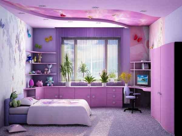 Светодиодные обои 3д в интерьере комнаты для девочки
