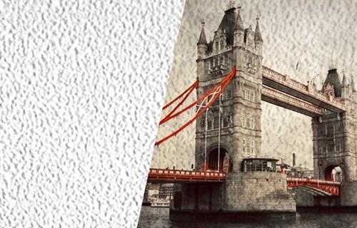 Текстильные фотообои, имитирующие крупный песок, с видом на Тауэрский мост