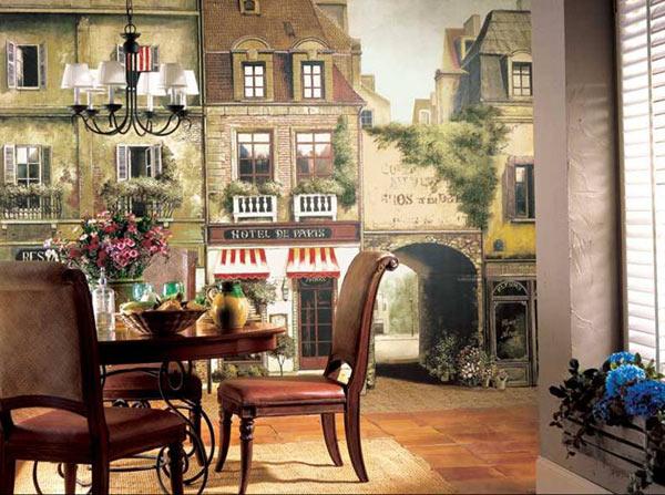 Улица старого города в обеденной зоне в классическом стиле