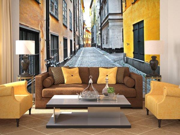 Улицы старого города в классическом интерьере гостиной