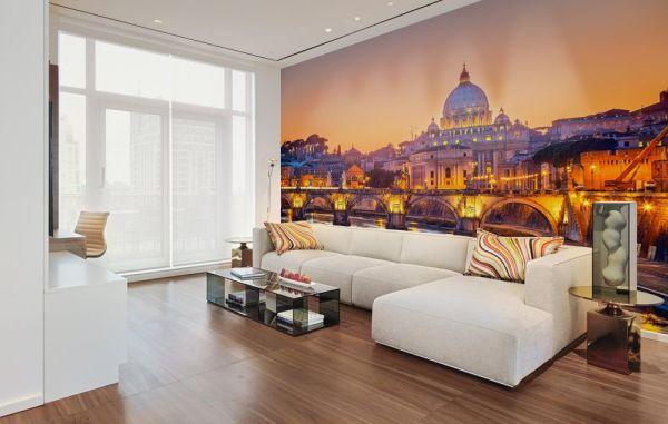 Вечерний Рим в интерьере гостиной