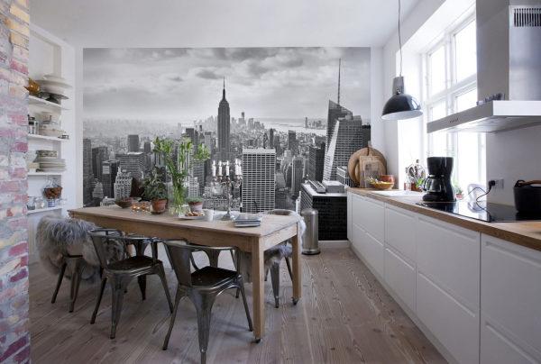 Вид на чёрно-белый город на кухне в стиле лофт