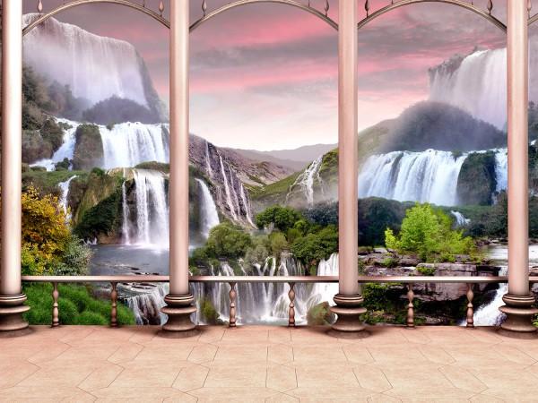 Вид с веранды на горные водопады
