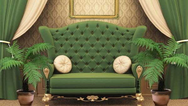Зелёная мебель на фоне бежевых обоев