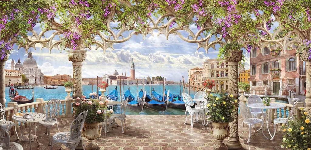 Фотообои с видом на Венецию с террасы летнего кафе