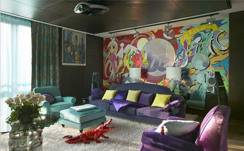 Фотообои с граффити в интерьере яркой гостиной