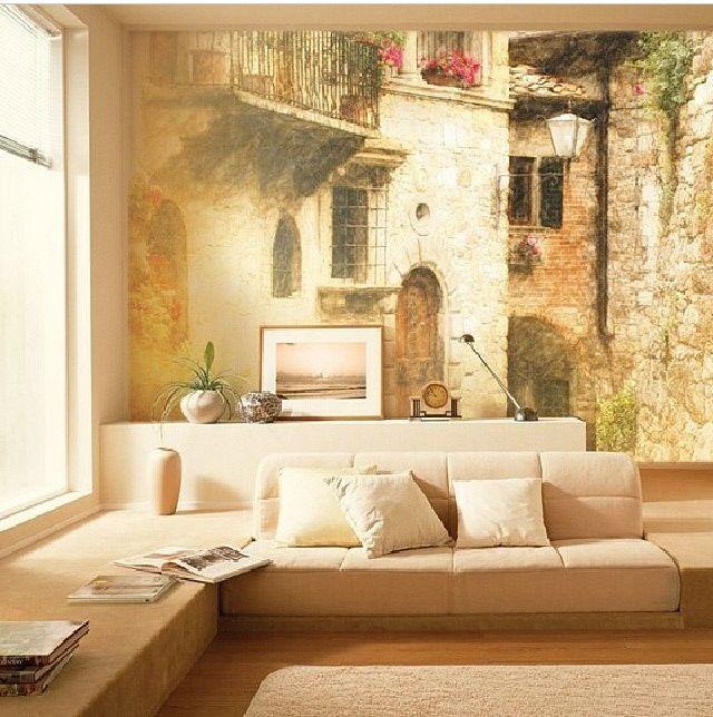 Фотообои с изображением красивой улочки старого города, в интерьере гостиной