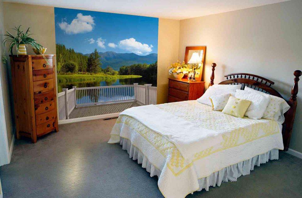 Фотообои с прекрасным видом с балкона, в спальне молодой девушки, в деревенском стиле