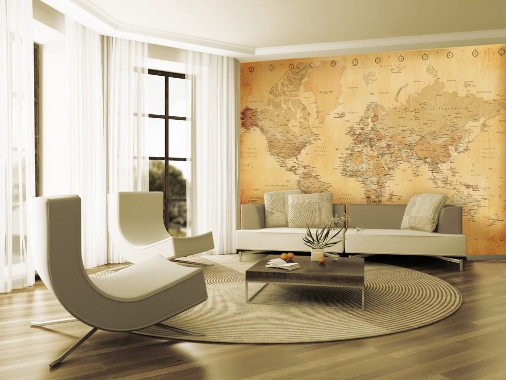 Фотообои с изображением карты мира, в интерьере гостиной Фотообои с изображением карты мира, в интерьере гостиной