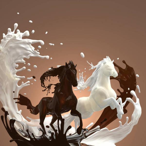 Авторский рисунок, изображающий двух стилизованных лошадей в контрастной цветовой гамме