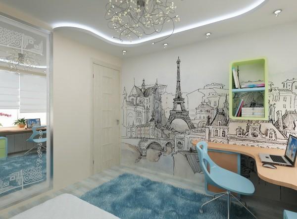 Чёрно-белое графическое изображение Парижа в комнате подростка