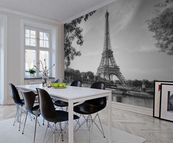 Черно белые фотообои париж, в интерьере кухни в современном стиле