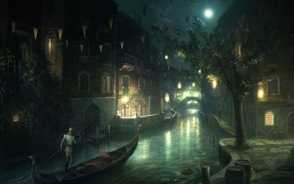 Флуоресцентные фотообои с изображением ночной Венеции