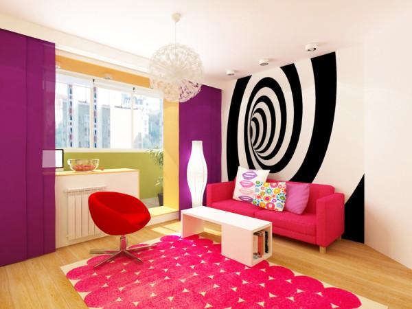 Фоновые фотообои с бесконечной спиралью, в молодёжном интерьере, в стиле поп-арт