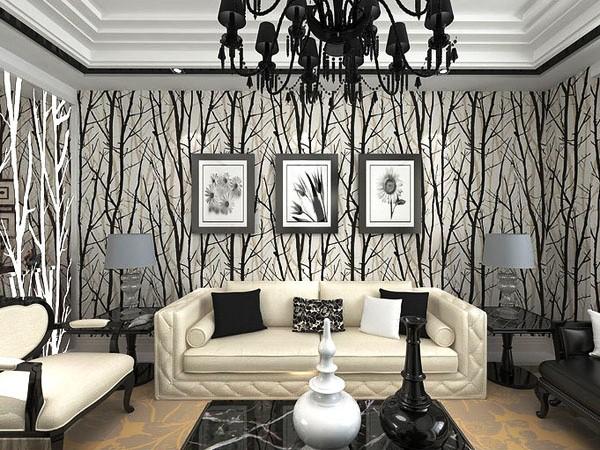 Фоновые, панорамные чёрно-белые фотообои в интерьере гостиной