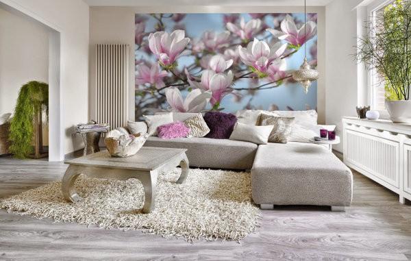 Фотообои 3д цветы в интерьере гостиной