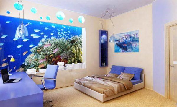 Фотообои аквариум, в интерьере подростковой комнаты